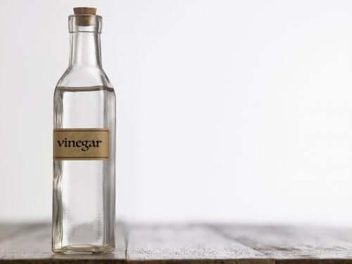A glass bottle of white vinegar.