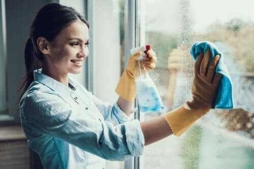 A woman cleaning her windows,