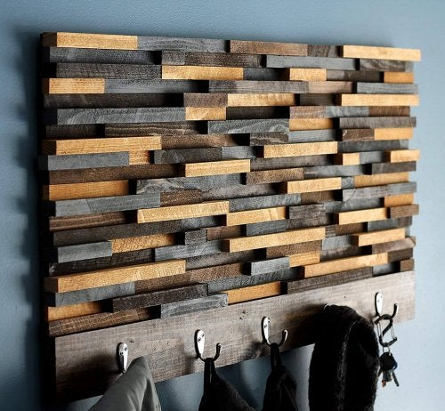 A rustic coat rack.