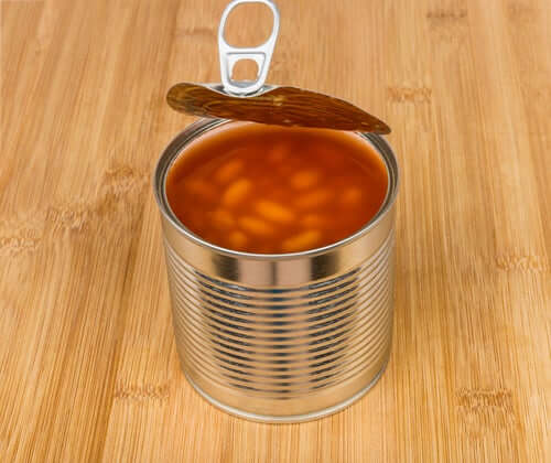 An opened can of beans.