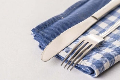 A handmade cutlery holder.