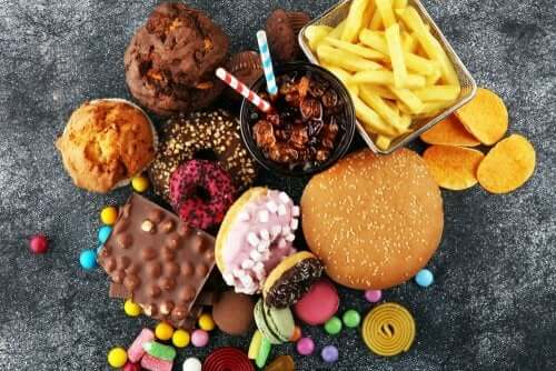 A display of junk food.