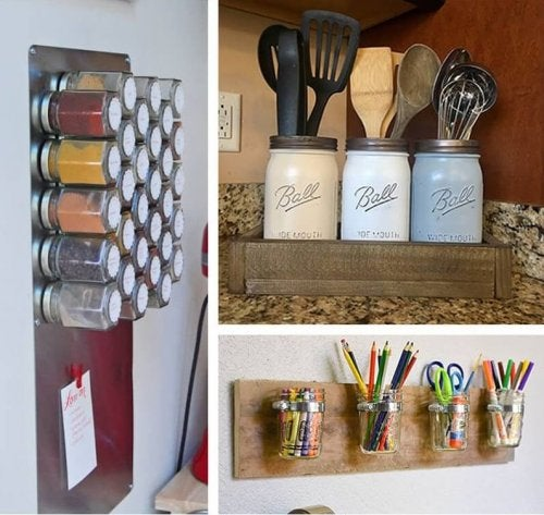 A few wall mounted used jar organizers. copy