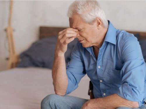 A man grieving.