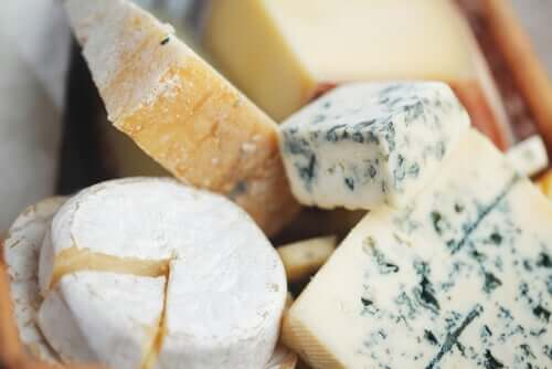 Several types of cheese.