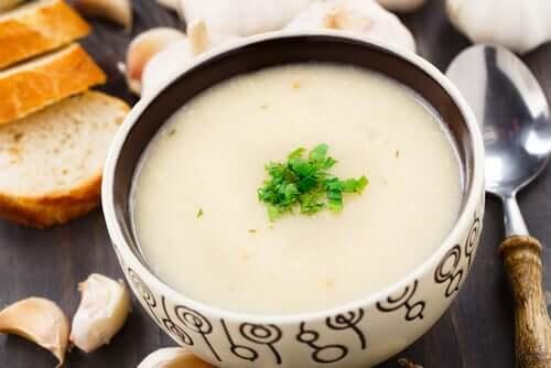 A bowl of garlic soup.