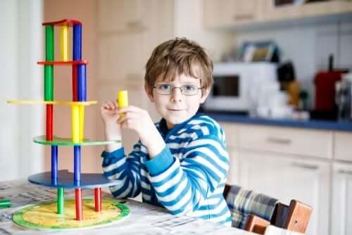 A boy wearing glasses.