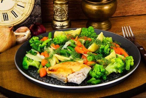 Chicken and steamed vegetables.