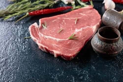 A raw steak.