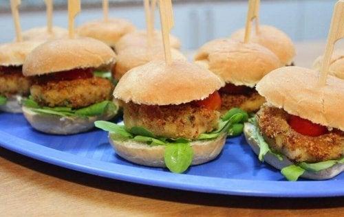 Vegan burgers on a platter.