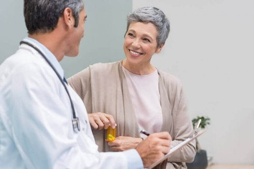 A woman going through menopause with her doctor.