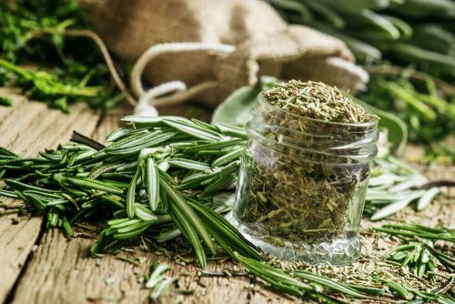 A jar of rosemary.