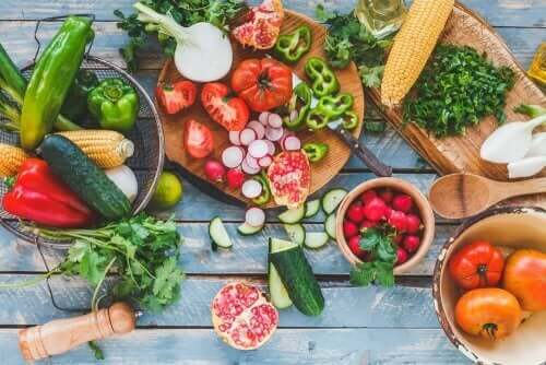An array of fruits and vegetables.