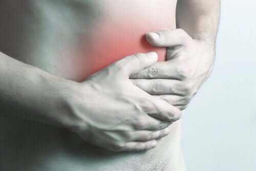 A man with abdominal pain.