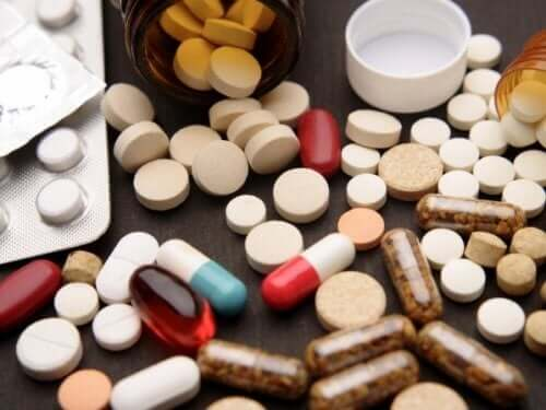 An array of medications.