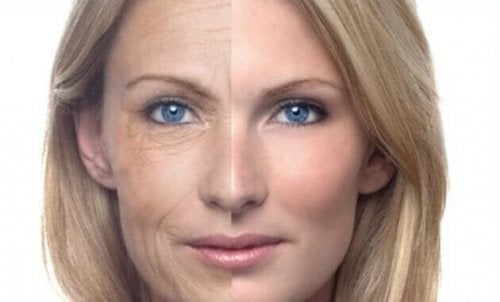 A woman's face with and without wrinkles.