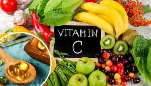 Sources of vitamin C.