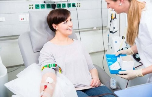 A woman receiving blood.