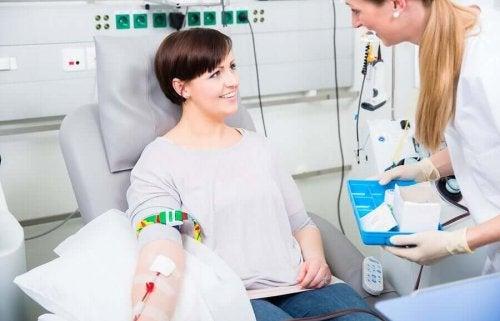 A woman receiving blood.