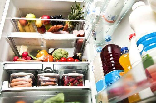 The inside of a fridge.