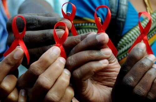 AIDS ribbons.
