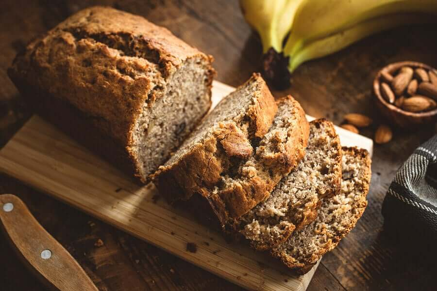 A healthy banana loaf with oat flour and almonds.
