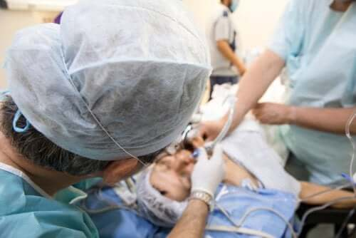 Surgery with intubation.