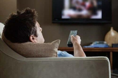 A man watching TV.