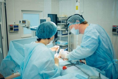 A surgeon operating.