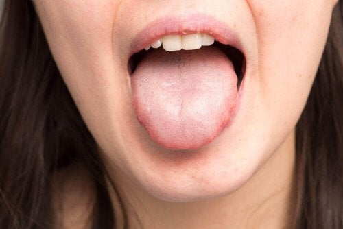 A woman sticking out her tongue.