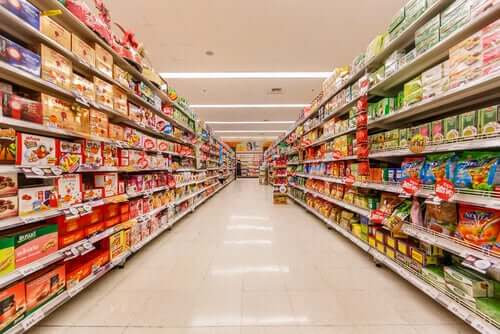 An aisle in a supermarket.
