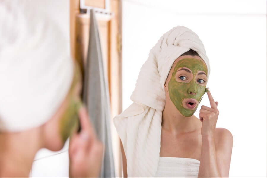 A woman with a face mask.
