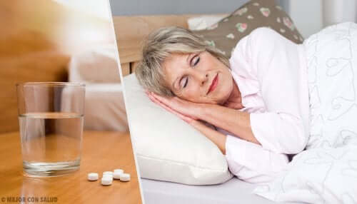 A woman who can now sleep because she took hypnotics or sleeping pills.