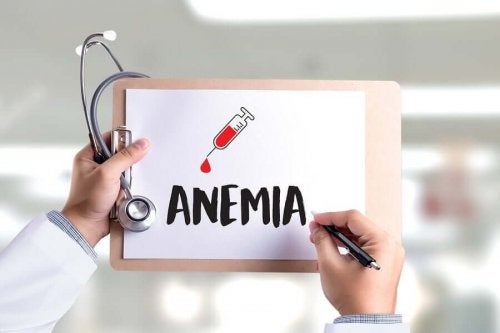 The word anemia written on a piece of paper on a clipboard.