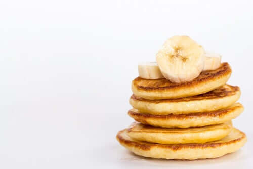 A stack of banana pancakes.
