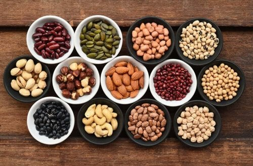 An array of nuts and legumes.