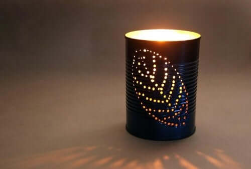 Handmade tin lantern.