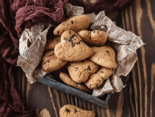 Heart shaped chocolate chip delights.