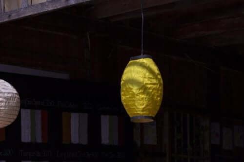 Paper bag lantern hanging.