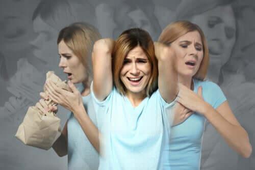 Woman having a panic attack.