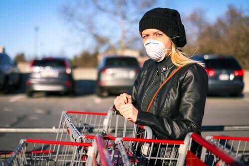Woman wearing a mask to prevent the coronavirus when shopping.