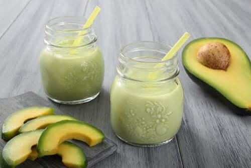 Two glasses of avocado smoothie.