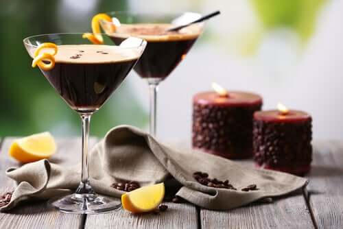 Two cups of chocolate liqueur.