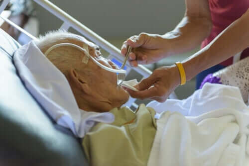 An elderly man in hospital.