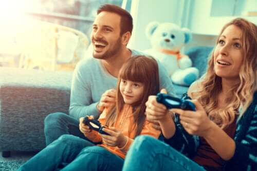 A family playing videogames.