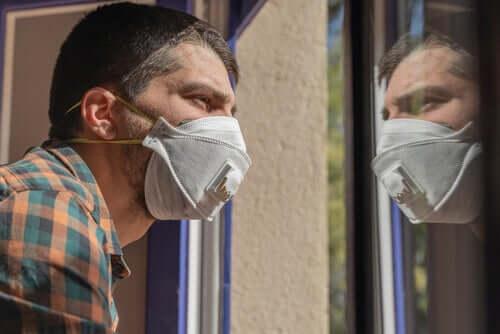 A man in quarantine during the coronavirus pandemic.