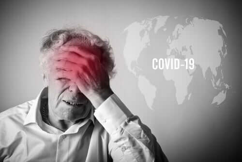 An elderly man worried about COVID-19.