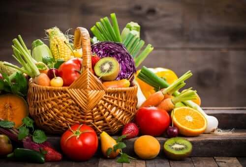 Fresh fruits and vegetables in a basket.