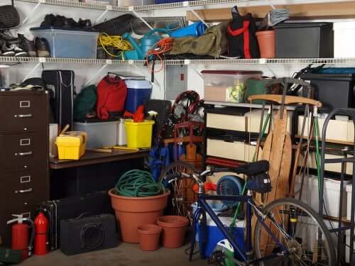 A cluttered garage. Organize your home in a better way.