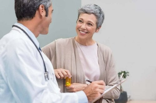 A woman visiting a doctor.